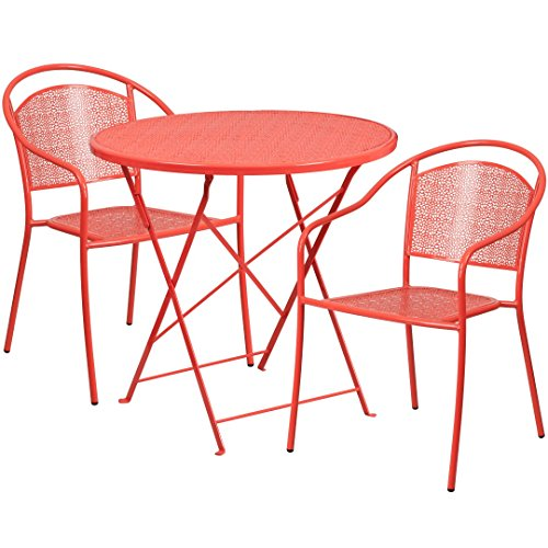 MFO 30'' Round Coral Indoor-Outdoor Steel Folding Patio Table Set with 2 Round Back Chairs