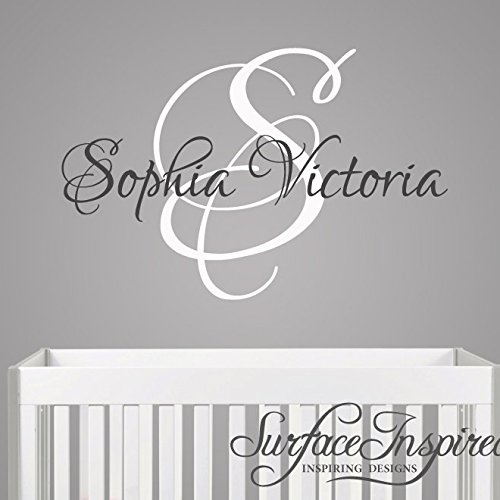 Name Wall Stickers Wall Decals Personalized Name Monogram Removable Vinyl Wall Decal Sticker Surface Inspired 1069