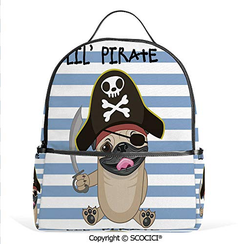 Hot Sale Backpack outdoor travel Buccaneer Dog in Cartoon Style Costume Holding Sword Lil Pirate Striped Backdrop,Multicolor,With Water Bottle Pockets]()