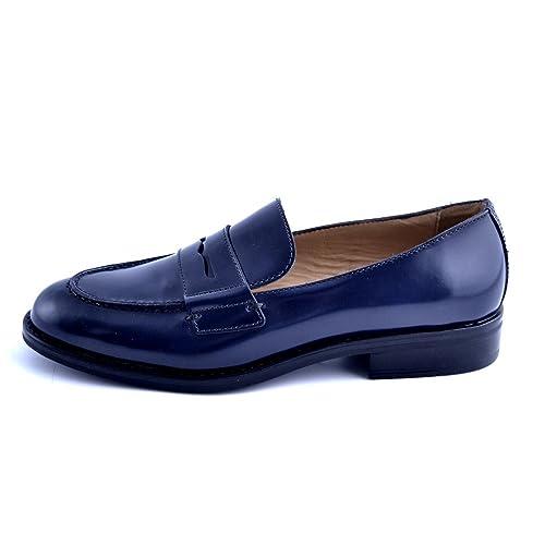 Soldini Scarpe Mocassini Donna Pelle Blu Made in Italy Taglia 40 ... 9af28f647df
