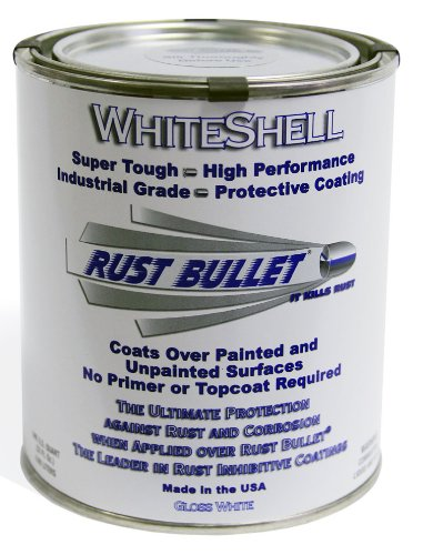 Rust Bullet WSQ WhiteShell Rust Preventative and Protective Coating Paint, 1 Quart Metal Can, Gloss White by Rust Bullet