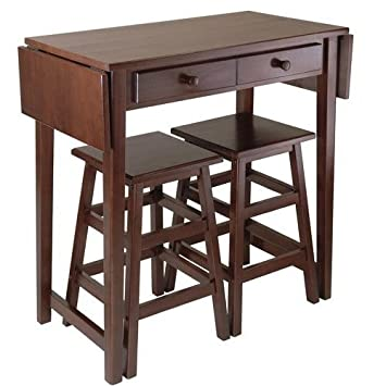 Pub Table Set, Counter Height, Drop Leaf Table With 2 Stools, Cappuccino