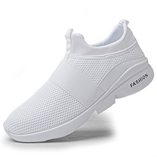 TSIODFO Running Sneakers for Men All red Black White Breathable Sport Trail Running Shoes Lightweight Comfort Walking Sneakers Youth Big Boys Gym Workout Tennis Shoes Plus Size 7 (666-White-40)