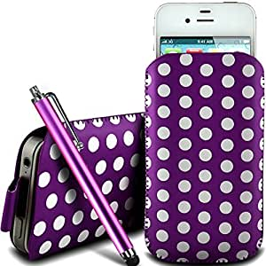 Direct-2-Your-Door - Bold 9790 protector PU cremallera diseño Polka de cuero antideslizante cuerda del tirón BlackBerry en bolsa de la caja con cierre rápido y grande Stylus Pen - Purple