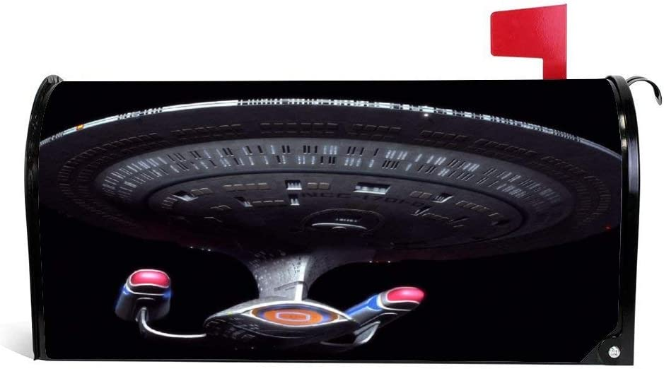 20.5x18 inch Outer Space USS Enterprise The Next Generation Magnetic Mailbox Cover Wraps Post Box Canvas Garden Yard Home Decor for Outside
