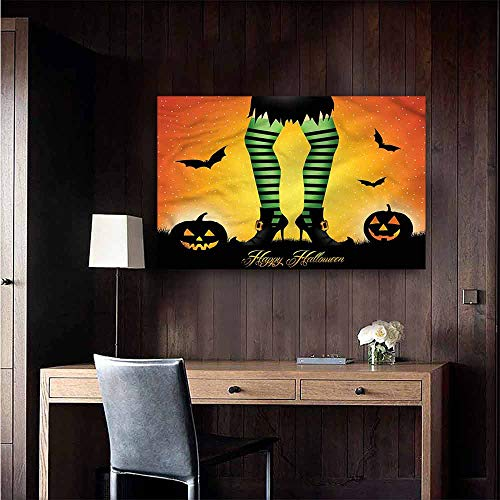 Gabriesl Decals for Home Room Decoration Halloween Cartoon Witch Living Room Wallpaper Size : W28 x -