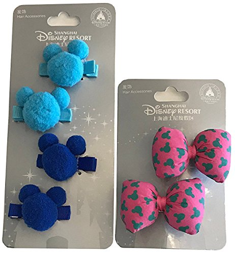 Disney Parks Shanghai Resort Mickey Ears Icon Plush Hair Clips Barrettes 3 pairs (Mickey Ears Icon)