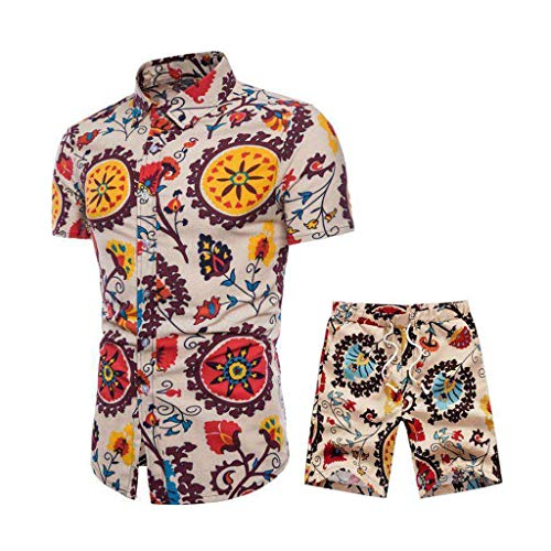 Outfits Set for Men, F_Gotal Men's Outfits Beach Shorts African Floral Print Two Piece Cotton Linen Outfits Sets Yellow