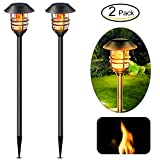 Solar Lights Heavy Duty Stainless Steel Torch Flame Lighting Adjust Height 23'' 39'' 55'' Flickering Landscape Decorate Path Lanterns Solar LED Powered Lamp Stand for Garden Patio Walkway Pathway 2 Pack