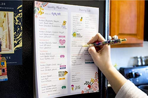 """bloom daily planners Weekly Magnetic Meal Planning Pad for Fridge with Tear-Off Grocery Shopping List - Hanging Food/Menu Organizer Notepad with Magnets - 8.5"""" x 11"""" 3"""