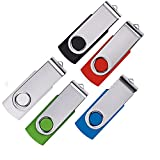 5 X Enfain 16GB USB 2.0 Flash Drive Bulk Swivel Thumb Drive Jump Drive Memory Stick Pen Drives, Black/Blue/White/Red/Green - Share Photos and Videos with Families & Friends (16 GB, MultiColor 5 Pack)