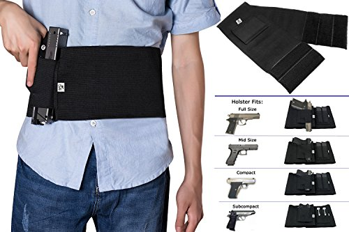 Adjustable Elastic Belts (GVN Adjustable Elastic Concealment Belly Band Holster Tactical Abdominal Belt Holster for Concealed Carry With Dual Magazine Pouches Fits Glock, Ruger LCP, M&P, Sig Sauer, Ruger, Kahr, Beretta,)