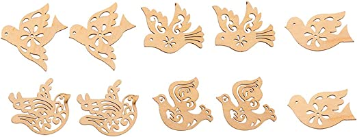12 Painted Wooden Duck Shapes Adhesive Scrapbooking Embellishments /& Card Making