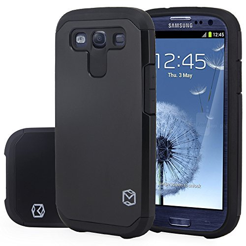 S3 Case, MP-MALL [Dual Layer] [Shockproof] Armor Hybrid Defender Anti-Drop Rugged Premium Protective Case Cover Fit for Samsung Galaxy S3 (Black) (Samsung S4 Mini Case Spigen)