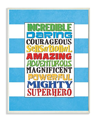 The Kids Room by Stupell Superhero Words On Blue Stripes Rectangle Wall Plaque, 11 x 0.5 x 15, Proudly Made in USA