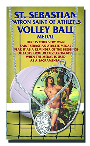 Volleyball Womens Saint Sebastian Pewter Medal With Chain Alcis Series Copyrighted Paul Herbert Blessing