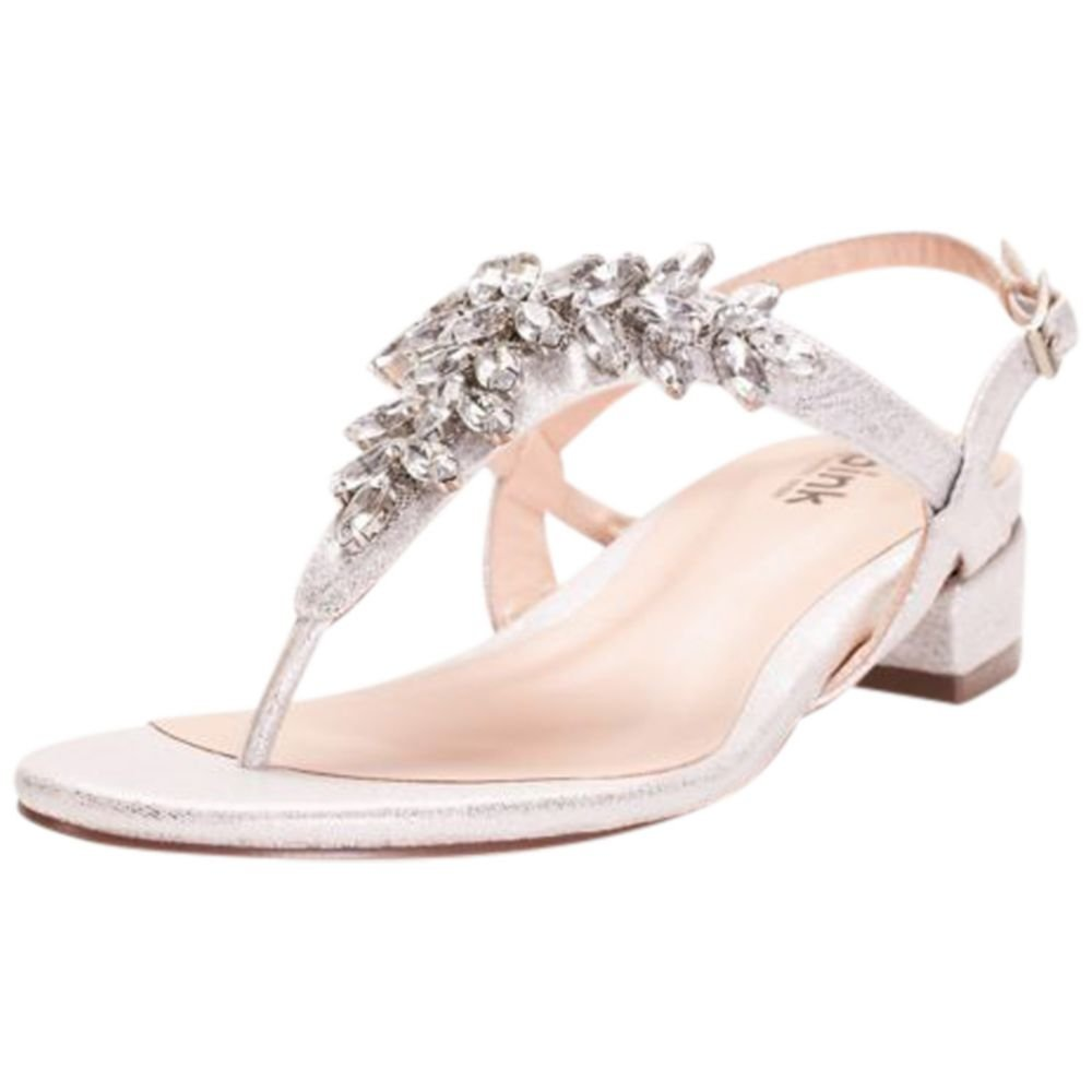7a06f1c7ddf9b0 Amazon.com | David's Bridal Flame Glitter Thong Sandals with Low Block Heel  Style P1709, Silver, 10 | Sandals