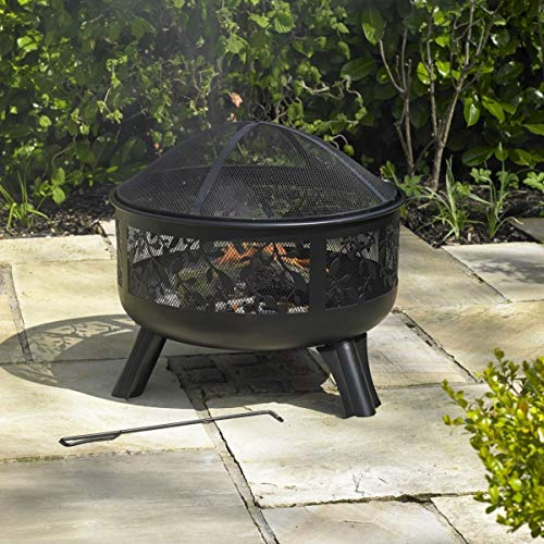 Kingfisher FPIT2 Fire Pits with Design and Sides Outdoor Garden Furniture, Transparent, One Size