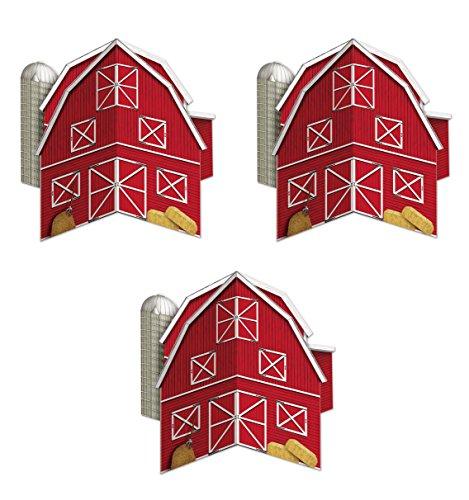 Beistle 52194 3Piece 3-D Barn Centerpieces, 10