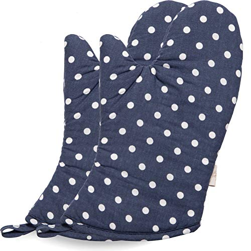 (NEOVIVA Cute Oven Mitts for Easy Bake Oven, Blue Navy Oven Gloves for Large Hands, Polka Dots Crown Blue)