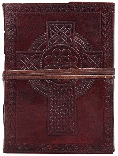 RUSTIC TOWN Handmade Vintage Antique Look Genuine Leather Bound Christian Catholic Journal Diary Notebook Travel Book with Unlined Pages to write for Men Women Gift for Him Her Celtic Cross