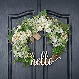 QUNWREATH Handmade Floral 18 inch Handmade Green Hydrangea Series Wreath,Gifts Package,Free Hooks,Spring Front Door Rustic Wreath,Farmhouse Grapevine Wreath,Light up Wreath,Everyday Wreath,QUNW56