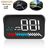 Car Universal Dual System HUD Head Up Display OBD II/GPS Interface,Vehicle Speed MPH KM/h,Engine RPM,OverSpeed Warning,Mileage Measurement,Water Temperature,Voltage