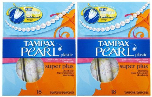 Tampax Pearl Tampons With Plastic Applicators, Super Plus Absorbency 18 ea (Pack of 10) by Tampax