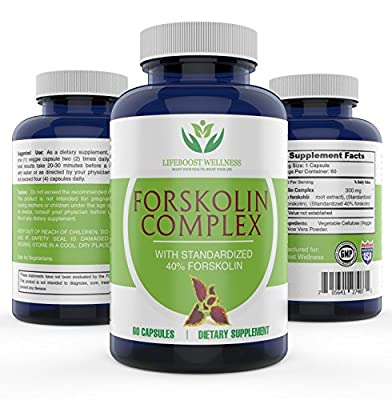 Pure Forskolin Extract with Standardized 40% Forksolin for Weight Loss by Lifeboost Wellness | High Potency Fat Burner | Boosts Metabolism | GMP Certified | Made in the USA | 60 Capsules
