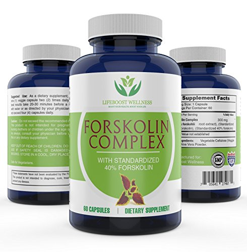Pure Forskolin Extract with Standardized 40% Forskolin for Weight Loss by Lifeboost Wellness | High Potency Fat Burner | Boosts Metabolism | GMP Certified | Made in the USA | 60 Capsules