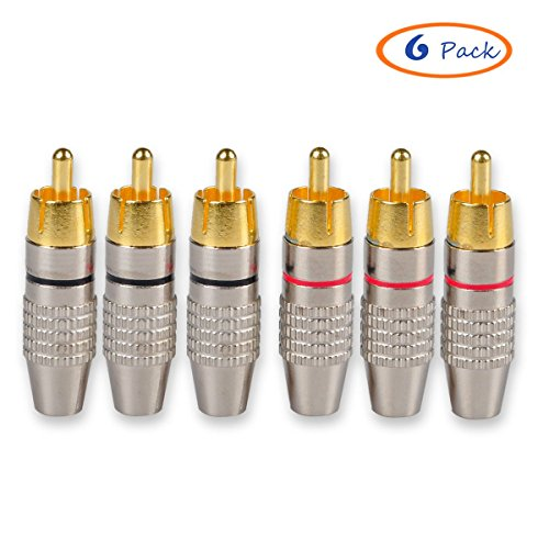 Rca Male Plug (Besmelody 6-Pack RCA Male Plug Screws Audio Video In-Line Jack Adapter Solderless Gold Plated [3-Pair])