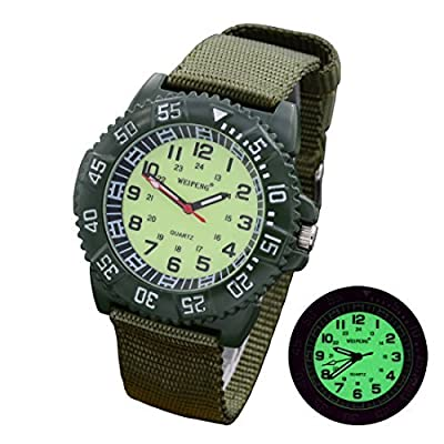 Tamlee Men's Canvas Strap Quartz Supper Light Luminous Face Rotay Dial Military Sport Wrist Watches