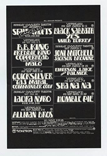 Bill Graham Presents 1972 Feb Flyer Black Sabbath Quick Silver Taj - Browne Jackson Tickets