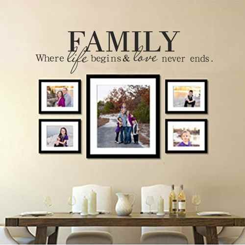 Family Love Wall Decal - Family where Life begins and Love never Ends - Family Vinyl Wall Decal Quote(Black,s)