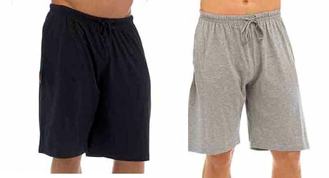 Hombres Pack Doble Salón Pantalones Cortos Jersey Elástico Noche Ropa Pijamas Pj inferiores - Negro &