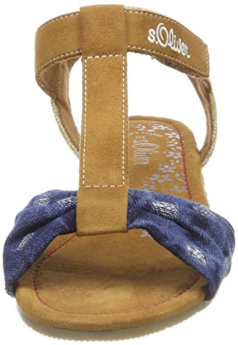 s.Oliver 58206, Sandalias con Tira Vertical Para Niñas Azul (Denim Comb)