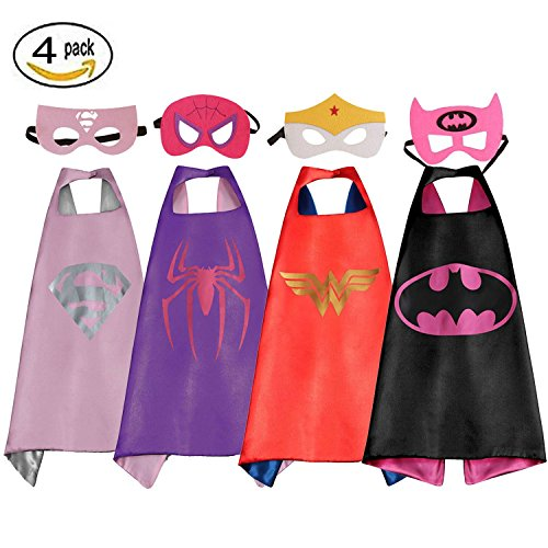 WT&C Superhero Dress Up Costumes Satin Capes with Masks For Girls (Set of 4) - Superheroes To Dress Up As