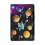 ALAZA Girls Boys Cozy Blanket Solar System Planets Throw Extra Soft Warm Fuzzy Bedding Couch Blanket Custom Gift for Indoor Outdoor 60x90 Inch