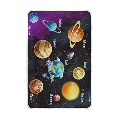 ALAZA Girls Boys Cozy Blanket Solar System Planets Throw Extra Soft Warm Fuzzy Bedding Couch Blanket Custom Gift for Indoor Outdoor 60x90 Inch by ALAZA