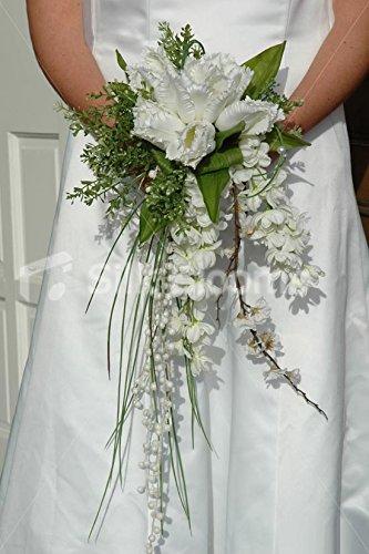 Amazing, Angelic Parrot Tulip & Stocks Shower Bridal Bouquet Silk Blooms Ltd 2330