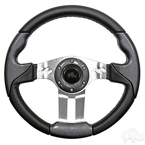 Aviator 5 Golf Cart Steering Wheel (Carbon Fiber Grip/Brushed Aluminum (Carbon Fiber Spokes)