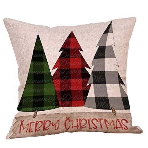 Lataw Christmas Pillow Cover 18×18 inch for Farmhouse Xmas Car Tree Decor Throw Pillow Case Christmas Decorations Square…