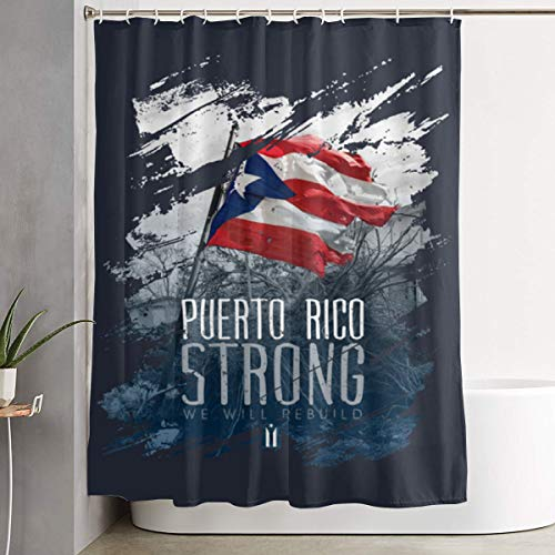 BHJ-YL Puerto Rico Strong Elegant Polyester Shower Curtain Water-Repellent Shower Curtains Bathroom Sets for Home/Hotel Decor