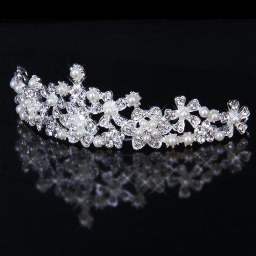 Couronne de Mariée Elégante Diadème de Voile Nuptial avec des Fleurs en Strass et en Perles Fausses
