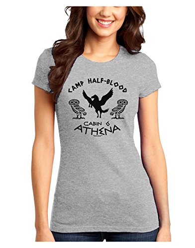 TooLoud Camp Half Blood Cabin 6 Athena Juniors T-Shirt - Ash Gray - Small (Poster Ash Grey T-shirt)