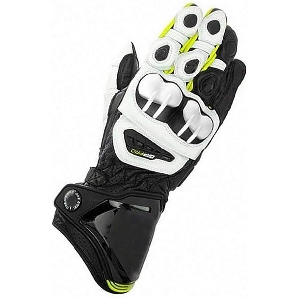 Color : Black White, Tama/ño : L ZXT Guantes Largos para Motocicletas Racing Moto Guantes de Piel de Vaca Originales