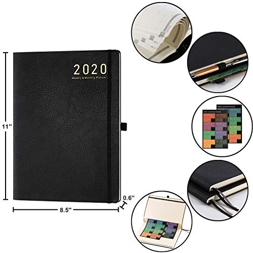 Planner 2019-2020 - Academic Weekly & Monthly Planner, 8.5 x 11, Soft Cover with Pen Holder and Thick Paper, Back Pocket with Julian Date - Bonus 24 Notes Pages + Gift Box - Brown