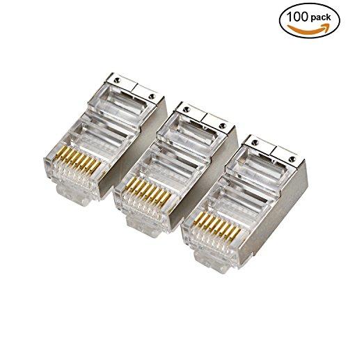 Pasow 100pcs CAT5E Shielded Crimp Connector RJ45 8P8C Ethernet Network Cable Plug Crimp - cat 5e (Electromagnetic Cat)