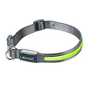 LED Dog Collar, LaRoo Flashing LED Dog Safety Collar USB Rechargeable Light Up Pet Safety Collar with Adjustable Size Fit for All Dog