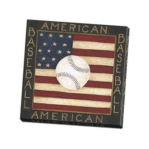 American Baseball Printed on Patriotic Canvas Wall Art by Cindy